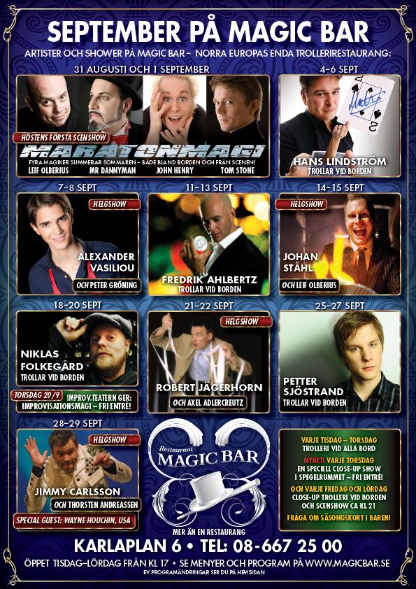 Program på Magic Bar i September 2012
