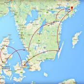 En karta över den magiska resan genom skandiavien