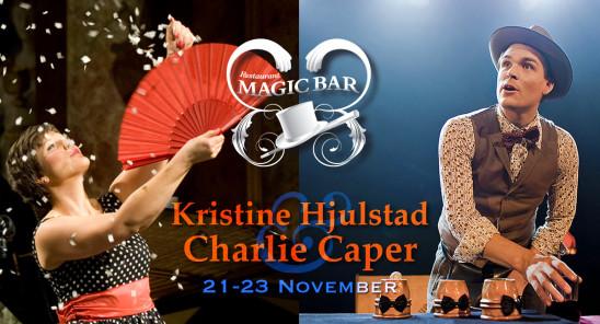 Den kvinnliga magikern Kristine Hjulstad och Charlie Caper